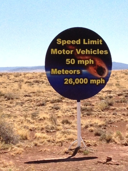 Great sign near the Meteor Crater