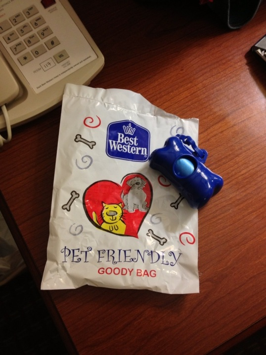 Thanks for the doggie goodie bag, Best Western!